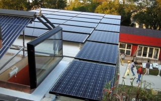 Collection of solar panels on a home roof