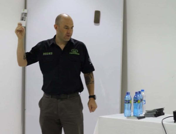 Oliver Butchart explaining about products during the centurion training
