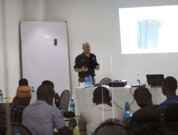 A trainer providing information about Centurion products in Tanzania