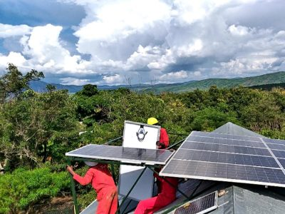 Solar panels being installed by Gadgetronix experts at Harambe Dispensary