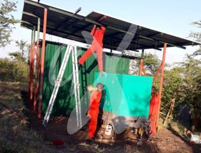 A view of the solar power system being installed in Makoma Hill