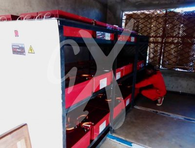 Solar panel batteries being installed by Gadgetronix expert at Makoma Hill