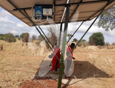 Gadgetronix experts after completing the installation of the solar system at Nasikia camps